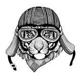 Weinlese-Bild TIGER für T-Shirt Design für Motorrad, Fahrrad, Motorrad, Rollerclub, aero Club stock abbildung