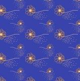 Weinlese blüht nahtloses Muster im blauen Hintergrund Stockbild