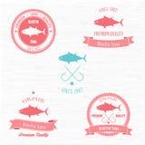 Weinlese Bluefin-Tuna Badge-Satz Lizenzfreies Stockfoto