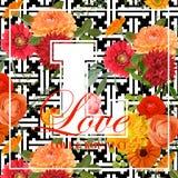 Weinlese-Blumen-Design für T-Shirt Stockbilder