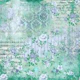 Weinlese-Blumencollagen-Hintergrund - Damast - Noten - Häuschen-Rosen - blau- schäbiges schickes Papier lizenzfreie abbildung