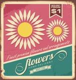 Weinlese-Blumengeschäftzeichen lizenzfreie abbildung