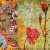 Weinlese BlumenGrunge Einklebebuch-Hintergrund Stockbild