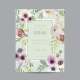 Weinlese-Blumenrahmen für Einladung Lizenzfreies Stockfoto