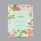 Weinlese-Blumenrahmen für Einladung Stockbild