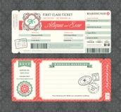 Weinlese-Bordkarte-Hochzeits-Einladungs-Schablone Stockfotos