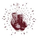 Weinlese-Boxhandschuhvektorillustration Stockbilder