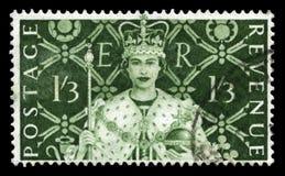 Weinlese-Briefmarke, die Königin ` s Krönung feiert lizenzfreies stockfoto