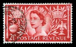 Weinlese-Briefmarke, die Königin ` s Krönung feiert stockbild