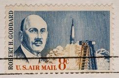 Weinlese-Briefmarke-RobertGoddard Rocketry 1964 Lizenzfreies Stockfoto