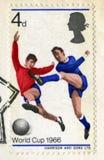 Weinlese-britische Briefmarke, die den Fußball 1966 Worl feiert Lizenzfreie Stockfotografie