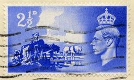 Weinlese-britische Briefmarke mit König George VI Stockbilder