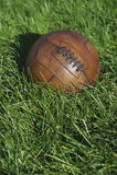 Weinlese-Brown-Fußball-Fußball-Grün-Rasenfläche Lizenzfreies Stockbild