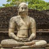 Weinlese-Buddha-Statue in der Meditation Lizenzfreie Stockbilder