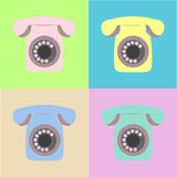 Weinlese-bunter Hintergrund mit Retro- Telefonen Stockbilder