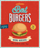 Weinlese-Burger-Plakat. Lizenzfreies Stockfoto