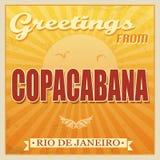 Weinlese Copacabana, Rio de Janeiro-Plakat Stockfotos