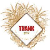 Weinlese danken Ihnen zu kardieren Stilvoller Blumenhintergrund Vector Abbildung, EPS10 Lizenzfreies Stockfoto