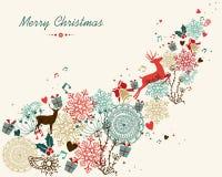 Weinlese der frohen Weihnachten färbt Transparenz Stockbilder