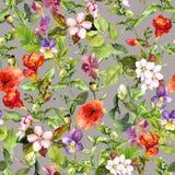 Weinlese, die Blumenmuster, nahtlosen Wiesenaquarellhintergrund wiederholt vektor abbildung
