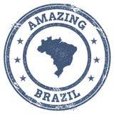 Weinlese, die Brasilien-Reisestempel mit Karte überrascht Stockfotos