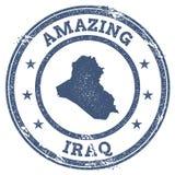 Weinlese, die der Irak-Reisestempel mit Karte überrascht Stockfotos