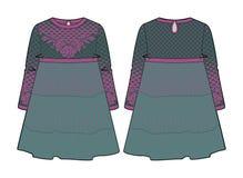 Weinlese, die Kleid mit Naht Taille und erweitertem Rock betrachtet Lizenzfreies Stockfoto