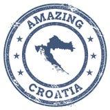 Weinlese, die Kroatien-Reisestempel mit Karte überrascht Stockfotografie