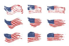 Weinlese, die USA-Flaggensatz wellenartig bewegt Vektor-wellenartig bewegende amerikanische Flaggen auf Schmutzbeschaffenheit vektor abbildung