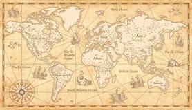 Weinlese erläuterte Weltkarte Stockbilder
