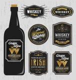 Weinlese-erstklassiges Whisky-Marken-Aufkleber-Design Stockbilder