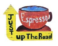 Weinlese-Espresso-Zeichen Stockbilder
