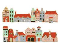Weinlese-Europahäuser Stellen Sie von den im altem Stil Stadt- und Dorfgebäudefassaden in Folge ein Handgezogene Entwurfsvektor-S vektor abbildung
