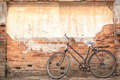Weinlese-Fahrrad auf der alten Backsteinmauer Lizenzfreie Stockfotos