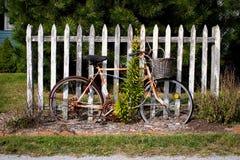 Weinlese-Fahrrad durch Zaun Stockbilder