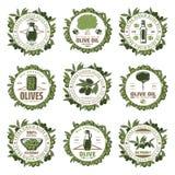 Weinlese farbige Olive Emblems Set Lizenzfreie Stockfotografie