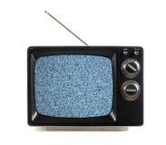 Weinlese Fernsehapparat mit Schnee-Mustern Stockbild
