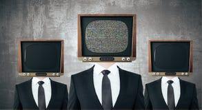 Weinlese Fernsehen ging Geschäftsmänner voran stock abbildung