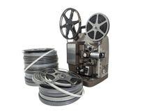 Weinlese-Film-Spulen und Projektor lokalisiert Lizenzfreie Stockfotografie