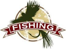 Weinlese-Fischen-Ikone Lizenzfreie Stockfotos