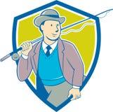 Weinlese-Fliegen-Fischer-Bowler Hat Shield-Karikatur Lizenzfreie Stockbilder