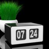 Weinlese Flip Clock mit Gras im weißen Keramik-Pflanzer 3d zerreißen Stockbilder