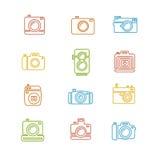 Weinlese-Foto-Kamera-bunte Ikonen-Linie Kunst Stockfotografie