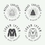 Weinlese-frohe Weihnachten oder Winterschlussverkauflogo, Emblem, Ausweis Lizenzfreie Stockfotografie
