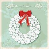 Weinlese-frohe Weihnachten Wreath knöpft Postkarte Stockbild