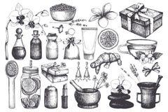 Weinlese fset von Handgezogenen BADEKURORT- und Schönheitsillustrationen Kosmetik und aromatische Bestandteilsammlung Gesundes el stock abbildung