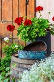 Weinlese-Garten-Dekoration Stockfoto