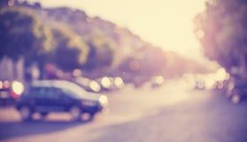 Weinlese gefilterte unscharfe Straße bei Sonnenuntergang stockfotos