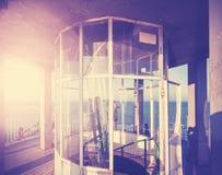 Weinlese gefiltertes Bild des Oberteils des Leuchtturmes Stockfotos