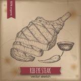 Weinlese gegrillte Rippenaugen-Steakschablone gesetzt auf alten Papierhintergrund stock abbildung